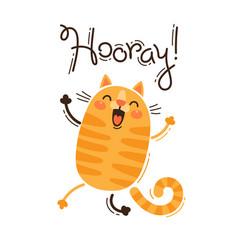 funny cat yells hooray in vector image