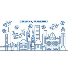 Germany frankfurt winter city skyline merry vector