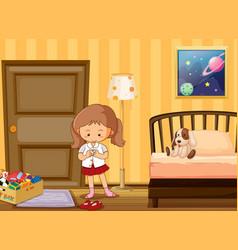Girl dressing up in school uniform in bedroom vector