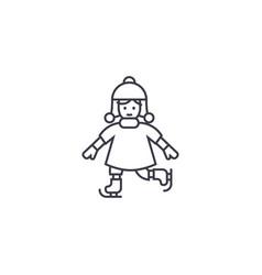 girl skating line icon sign vector image