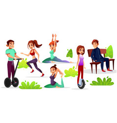 Girls or boys activity in park vector