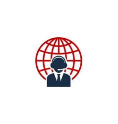 globe call center logo icon design vector image