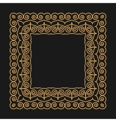 Golden frame in the modern mono line style on a vector