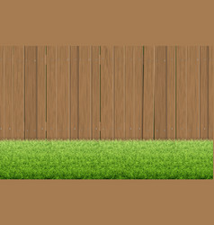 Grass lawn and brown wooden fence vector
