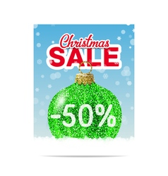 Green glitter christmas ball for christmas sale vector