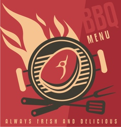 Grill cover menu template vector image