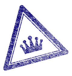 Grunge textured crown triangle stamp seal vector