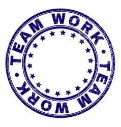 Grunge textured team work round stamp seal vector