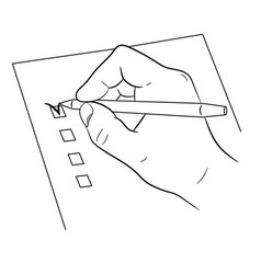 hand and pen mark on checklist on white vector image