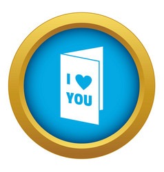Happy valentines day or weeding card icon blue vector