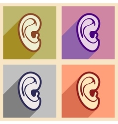 Icons of assembly human ear in flat style vector