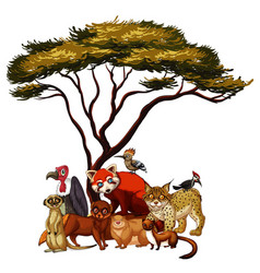 isolated picture many animals under tree vector image