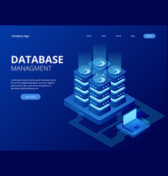 Isometric database network management big data vector