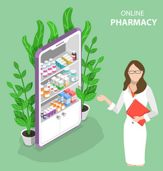 Isometric flat concept of online pharmacy vector