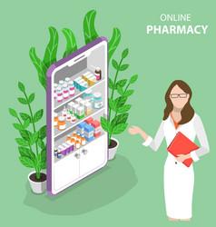 Isometric flat concept online pharmacy vector