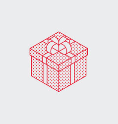 isometric present box outline icon vector image