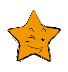 kawaii star cartoon cute facial expression vector image