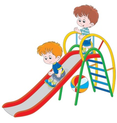 Kids on a slide vector
