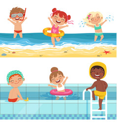 kids playing in water characters isolate vector image