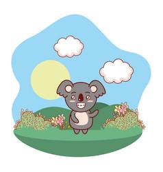 koala smiling outdoors cartoon vector image