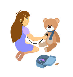 little girl playing a doctor with plush teddy bear vector image