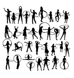 Little girl playing with hula hoop silhouettes vector