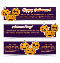 magic halloween party horizontal banners vector image