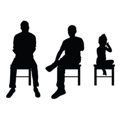 Man and child silhouette sitting set vector
