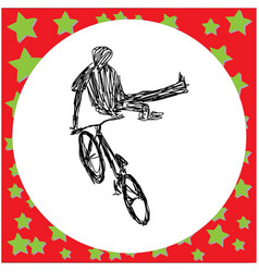 man jumping on bmx bike silhouette vector image