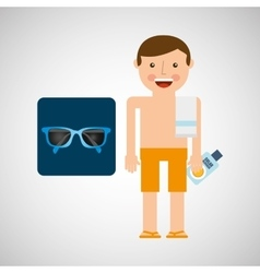 Man shorts sunglasses towel beach vacations vector