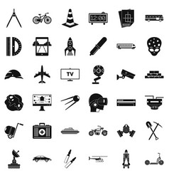 Management icons set simple style vector