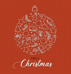 merry christmas holiday season icons bauble card vector image