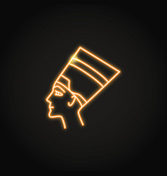 nefertiti queen icon in glowing neon style vector image