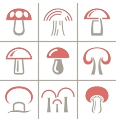 Nineteen mushrooms collection isolated on white vector