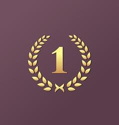 Number one 1 laurel wreath logo icon design vector