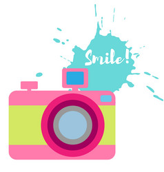 Old-fashioned color camera flat style splash vector