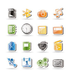 phone performance and office icons vector image