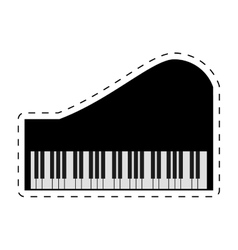piano keyboard instrument music dotted line vector image