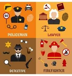 Policeman firefighter detective and lawyer icons vector