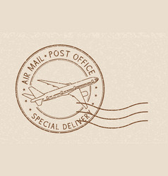 Postmark special delivery brown sign on beige vector