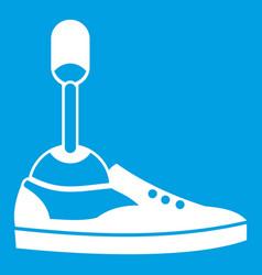 Prosthetic leg icon white vector