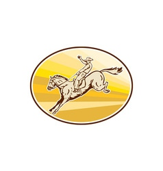 Rodeo cowboy riding horse oval retro vector