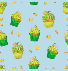seamless pattern clovers for st patricks day vector image
