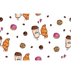 seamless pattern coffee and sweets vector image