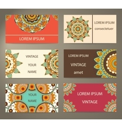 Set business cards with decorative flowers vector