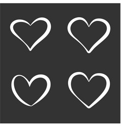 Set contour white hearts elements vector