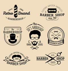 Set of vintage hipster barbershop logos vector