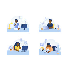 Set on topic online education vector