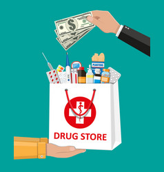shopping bag with medical pills and bottles vector image