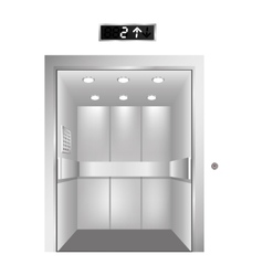 Silhouette elevator gray scale with opened door vector